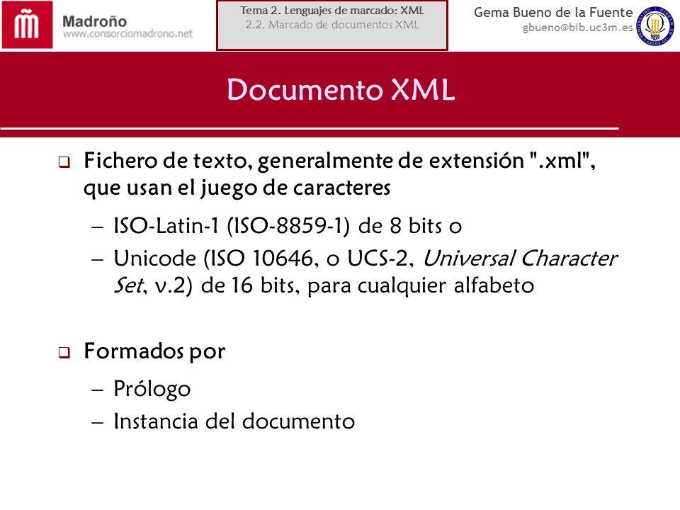 Gema Bueno de la Fuente gbueno@bib.uc3m.es Documento XML Fichero de texto, generalmente de extensión