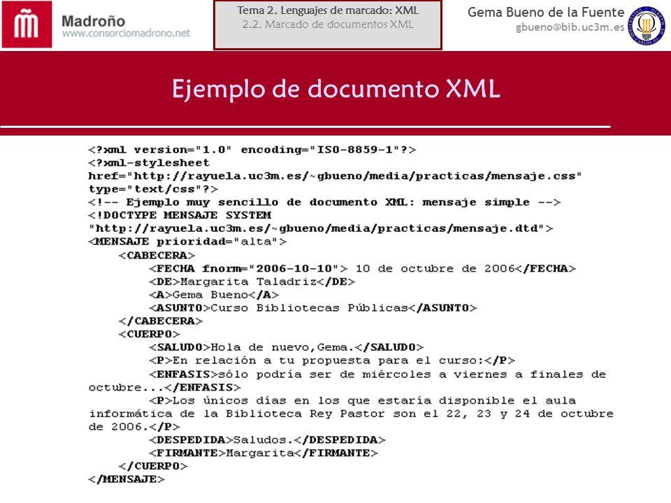 Gema Bueno de la Fuente gbueno@bib.uc3m.es Ejemplo de documento XML Tema 2. Lenguajes de marcado: XML 2.2. Marcado de documentos XML