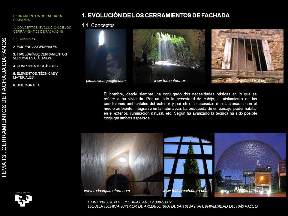 CERRAMIENTOS DE FACHADA DIÁFAN0S 1.CONCEPTOS.
