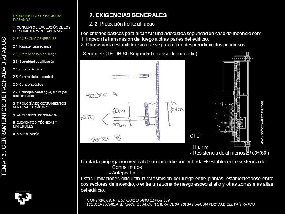 2. 2. Protección frente al fuego CONSTRUCCIÓN III. 5.º CURSO. AÑO 2.008-2.009 ESCUELA TÉCNICA SUPERIOR DE ARQUITECTURA DE SAN SEBASTIAN. UNIVERSIDAD D