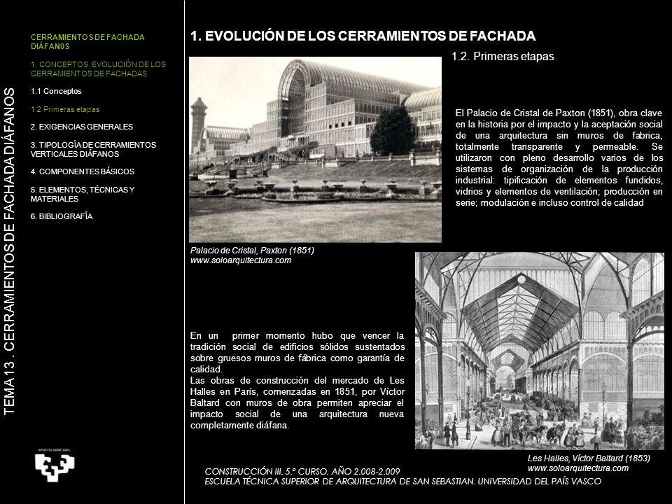 CERRAMIENTOS DE FACHADA DIÁFAN0S 1. CONCEPTOS. EVOLUCIÓN DE LOS CERRAMIENTOS DE FACHADAS 1.1 Conceptos 1.2 Primeras etapas 2. EXIGENCIAS GENERALES 3.
