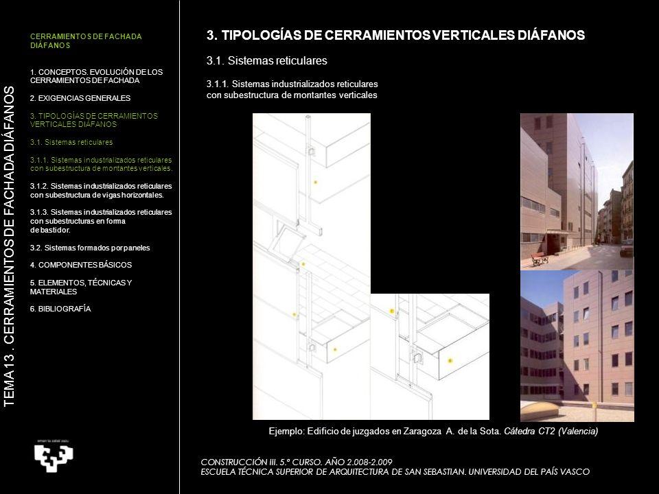 CONSTRUCCIÓN III. 5.º CURSO. AÑO 2.008-2.009 ESCUELA TÉCNICA SUPERIOR DE ARQUITECTURA DE SAN SEBASTIAN. UNIVERSIDAD DEL PAÍS VASCO Ejemplo: Edificio d
