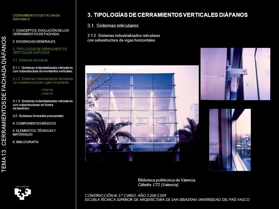 CONSTRUCCIÓN III. 5.º CURSO. AÑO 2.008-2.009 ESCUELA TÉCNICA SUPERIOR DE ARQUITECTURA DE SAN SEBASTIAN. UNIVERSIDAD DEL PAÍS VASCO Biblioteca politécn
