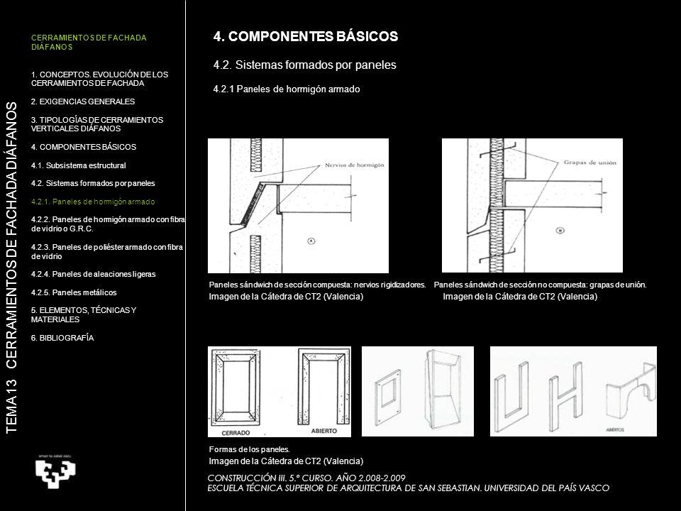 Paneles sándwich de sección compuesta: nervios rigidizadores. CONSTRUCCIÓN III. 5.º CURSO. AÑO 2.008-2.009 ESCUELA TÉCNICA SUPERIOR DE ARQUITECTURA DE