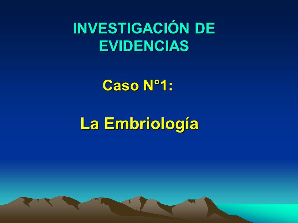 INVESTIGACIÓN DE EVIDENCIAS Caso N°1: La Embriología
