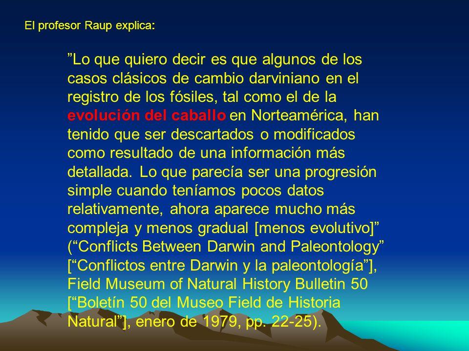 El profesor Raup explica: Lo que quiero decir es que algunos de los casos clásicos de cambio darviniano en el registro de los fósiles, tal como el de