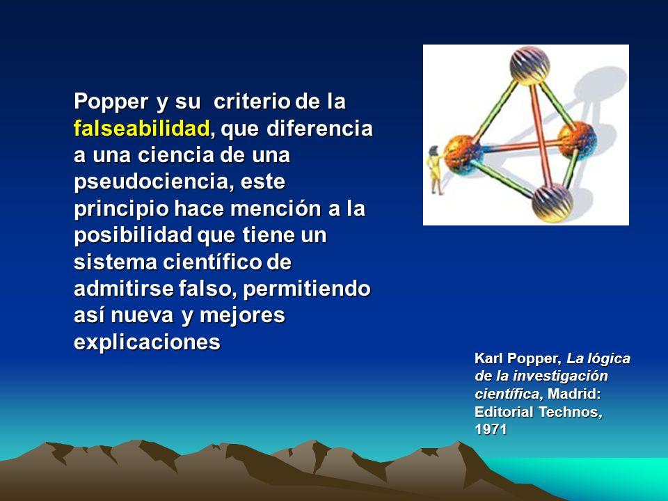 Popper y su criterio de la falseabilidad, que diferencia a una ciencia de una pseudociencia, este principio hace mención a la posibilidad que tiene un