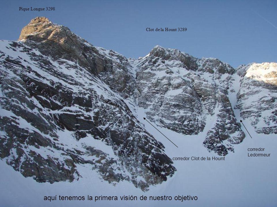 Pique Longue 3298 Clot de la Hount 3289 corredor Clot de la Hount corredor Ledormeur aquí tenemos la primera visión de nuestro objetivo