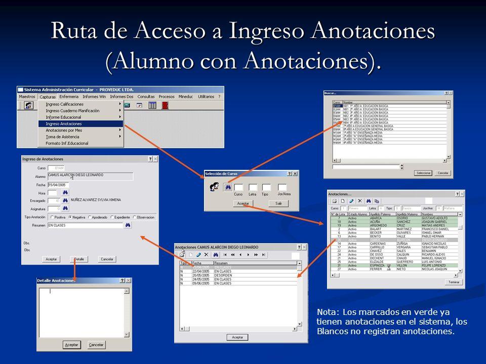 Ruta de Acceso a Ingreso Anotaciones (Alumno con Anotaciones). Nota: Los marcados en verde ya tienen anotaciones en el sistema, los Blancos no registr