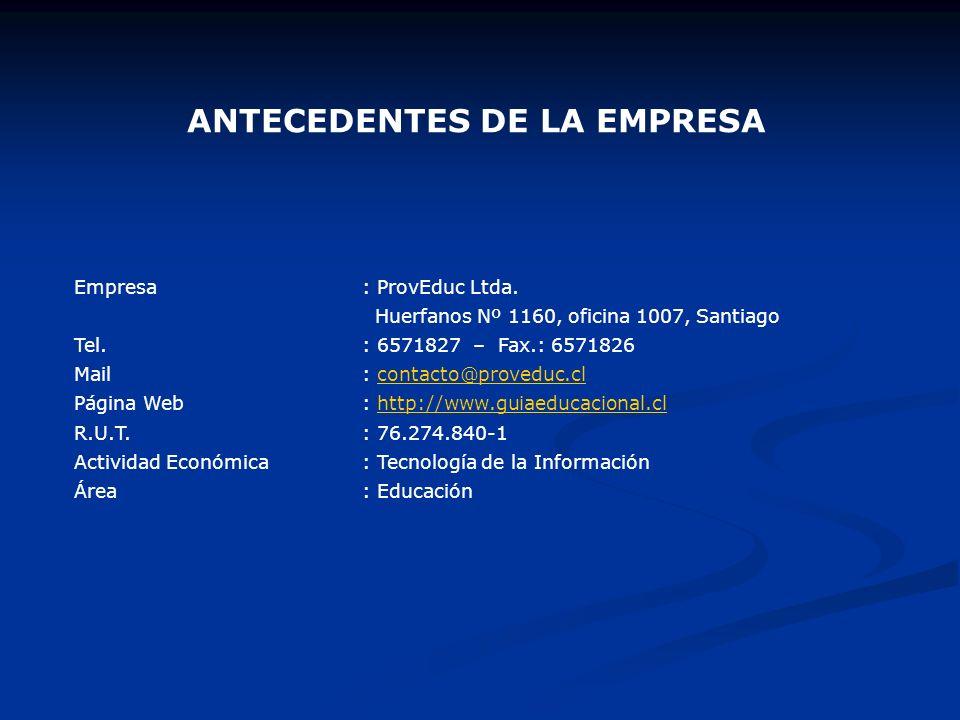 ANTECEDENTES DE LA EMPRESA Empresa: ProvEduc Ltda. Huerfanos Nº 1160, oficina 1007, Santiago Tel.: 6571827 – Fax.: 6571826 Mail: contacto@proveduc.clc