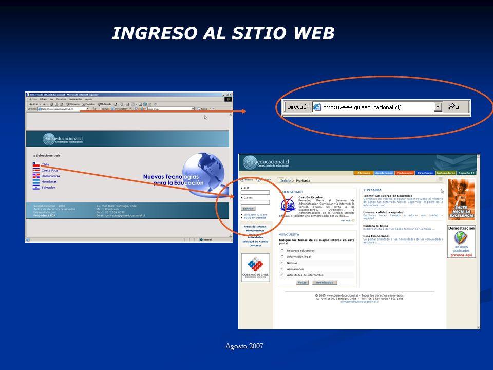 INGRESO AL SITIO WEB Agosto 2007