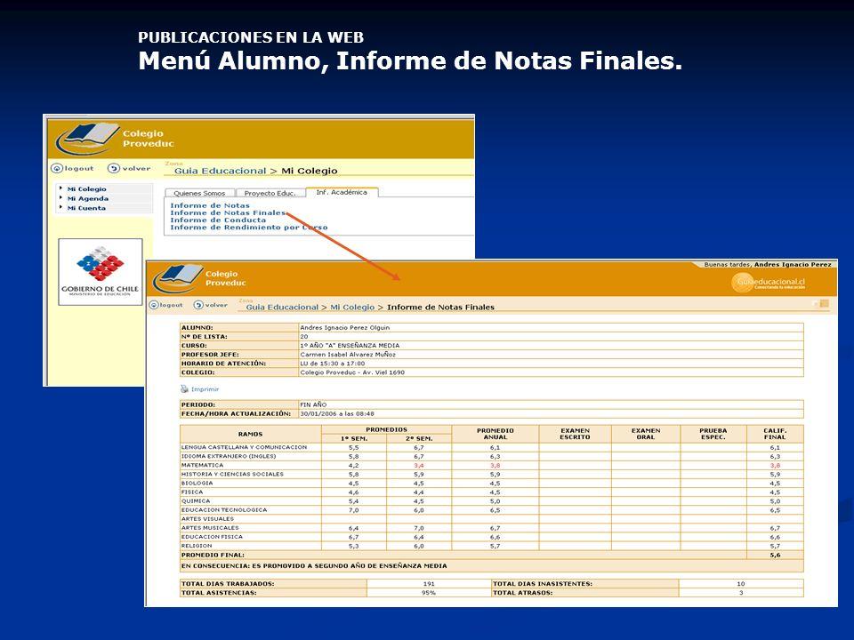 PUBLICACIONES EN LA WEB Menú Alumno, Informe de Notas Finales.