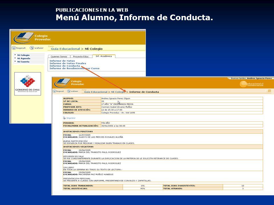 PUBLICACIONES EN LA WEB Menú Alumno, Informe de Conducta.