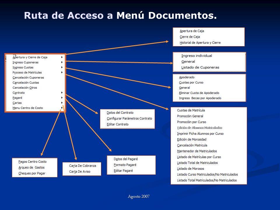 Ruta de Acceso a Menú Documentos. Agosto 2007