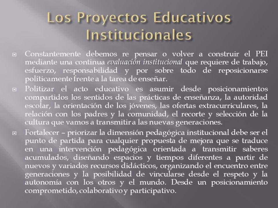 evaluación institucional Constantemente debemos re pensar o volver a construir el PEI mediante una continua evaluación institucional que requiere de t