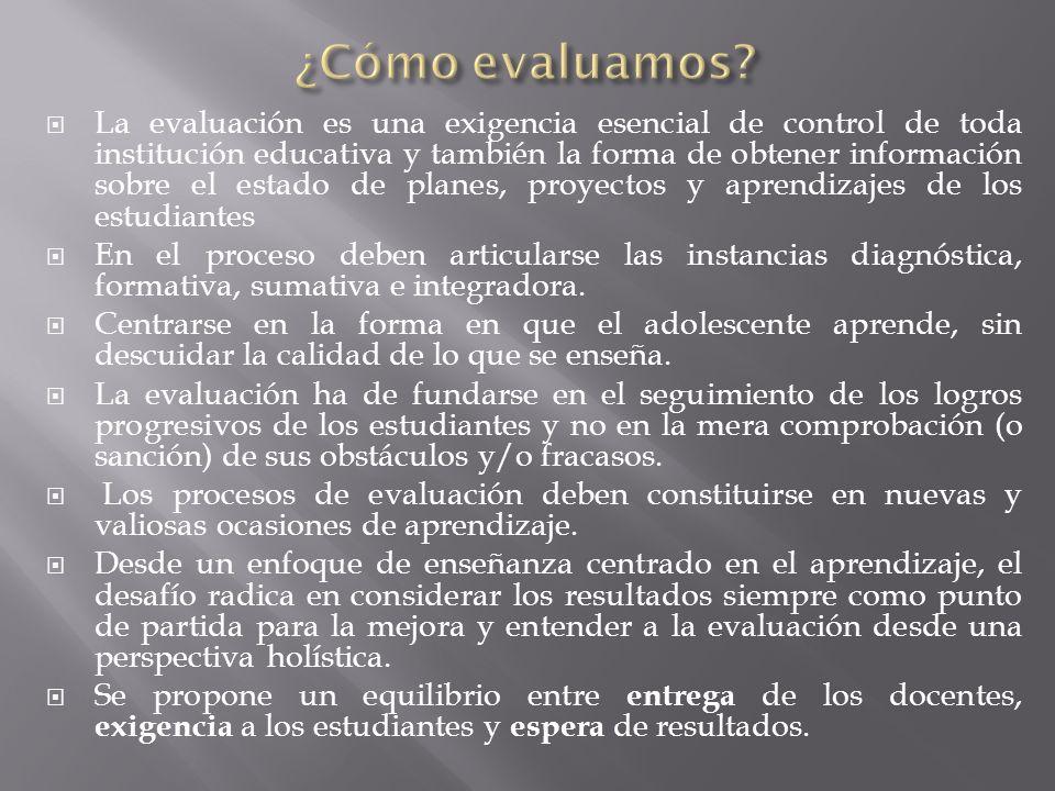 La evaluación es una exigencia esencial de control de toda institución educativa y también la forma de obtener información sobre el estado de planes,