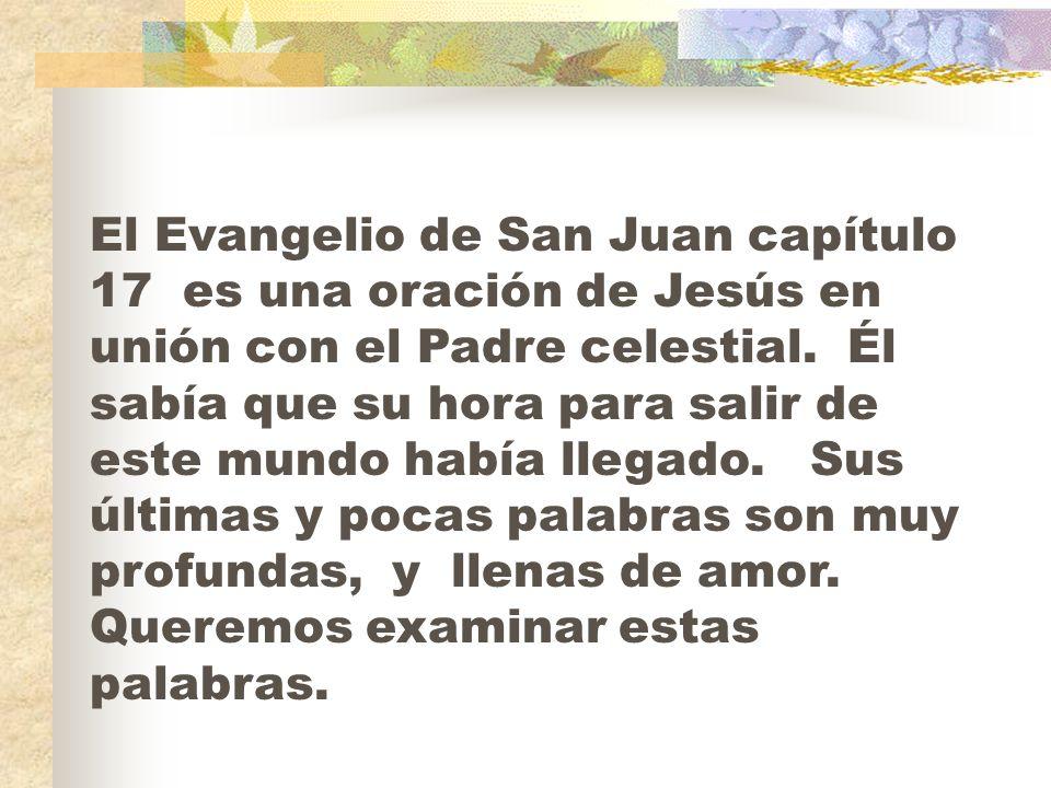 El Evangelio de San Juan capítulo 17 es una oración de Jesús en unión con el Padre celestial.