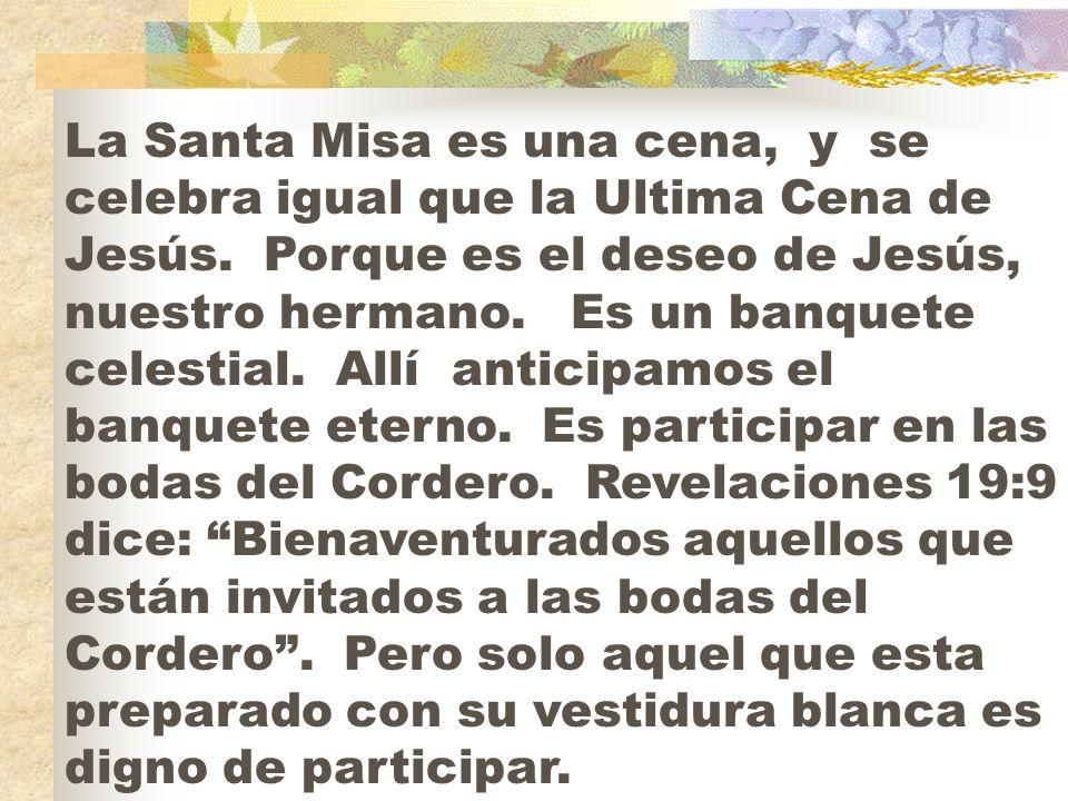 La Santa Misa es una cena, y se celebra igual que la Ultima Cena de Jesús.