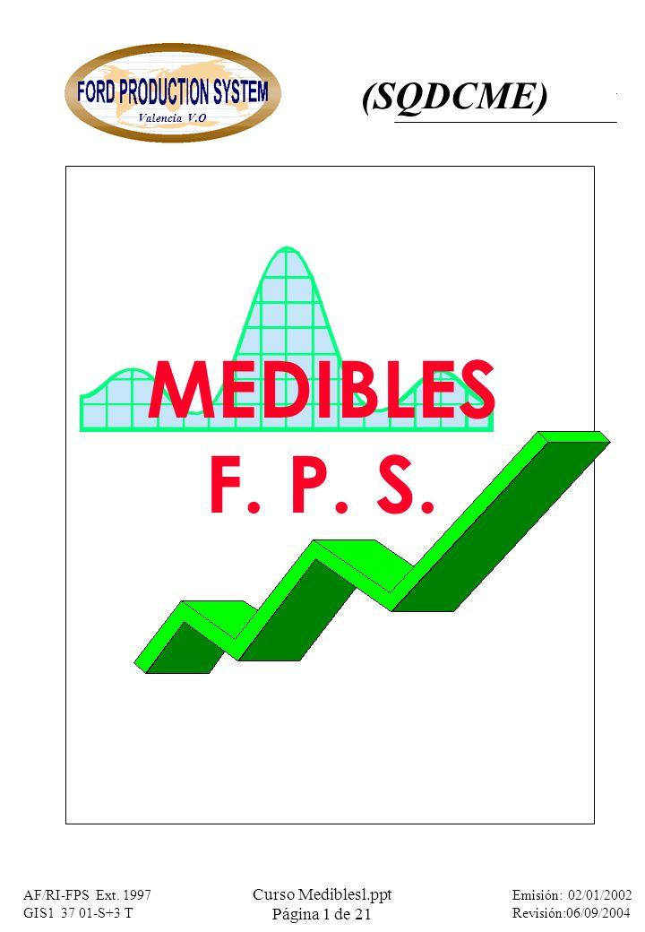 MATERIA: ASUNTO: Medibles FPS Valencia V.O Emisión: 02/01/2002 Revisión:06/09/2004 AF/RI-FPS Ext. 1997 GIS1 37 01-S+3 T Curso Mediblesl.ppt Página 1 d