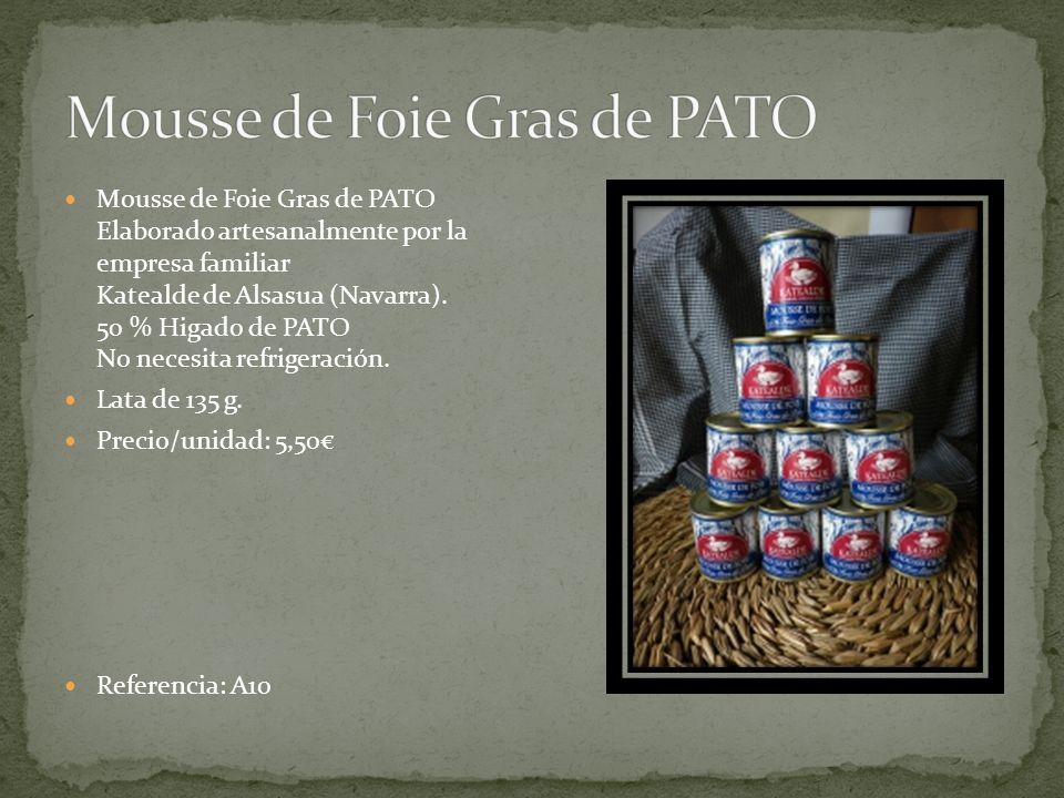 Mousse de Foie Gras de PATO Elaborado artesanalmente por la empresa familiar Katealde de Alsasua (Navarra).