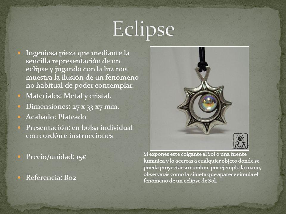 Ingeniosa pieza que mediante la sencilla representación de un eclipse y jugando con la luz nos muestra la ilusión de un fenómeno no habitual de poder contemplar.