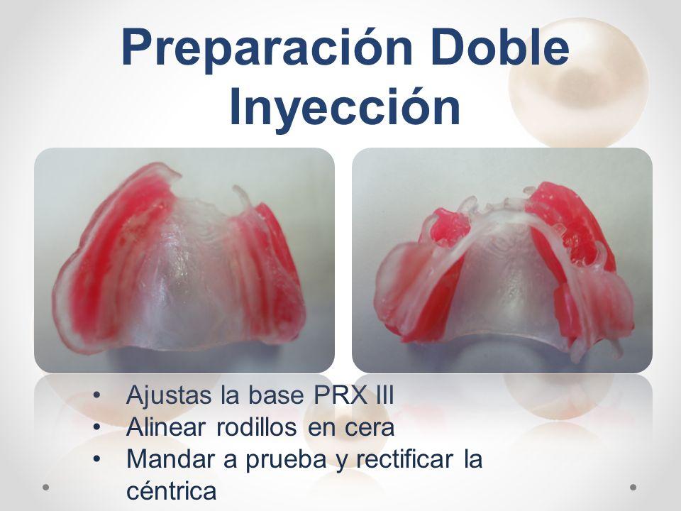 Ajustas la base PRX III Alinear rodillos en cera Mandar a prueba y rectificar la céntrica Preparación Doble Inyección