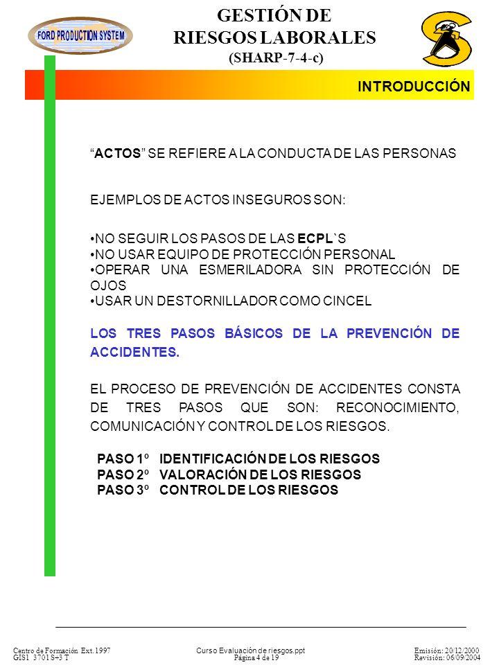 GESTIÓN DE RIESGOS LABORALES (SHARP-7-4-c) Centro de Formación Ext.
