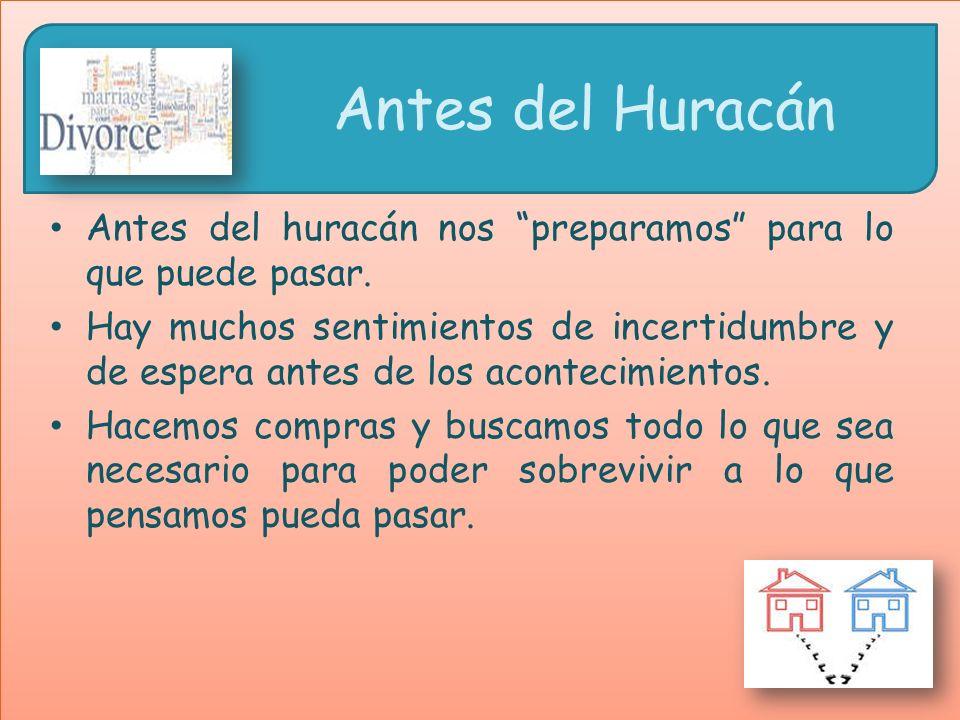 Antes del Huracán Antes del huracán nos preparamos para lo que puede pasar. Hay muchos sentimientos de incertidumbre y de espera antes de los aconteci