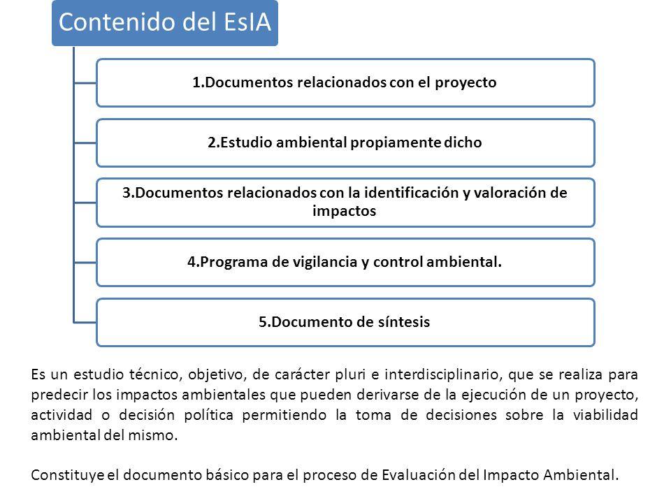 Contenido del EsIA 1.Documentos relacionados con el proyecto2.Estudio ambiental propiamente dicho 3.Documentos relacionados con la identificación y va