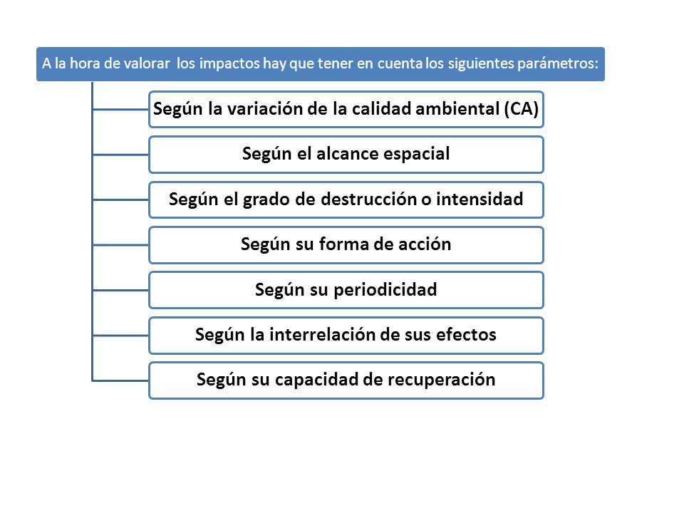 A la hora de valorar los impactos hay que tener en cuenta los siguientes parámetros: Según la variación de la calidad ambiental (CA)Según el alcance e
