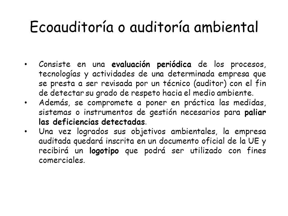 Ecoauditoría o auditoría ambiental Consiste en una evaluación periódica de los procesos, tecnologías y actividades de una determinada empresa que se p