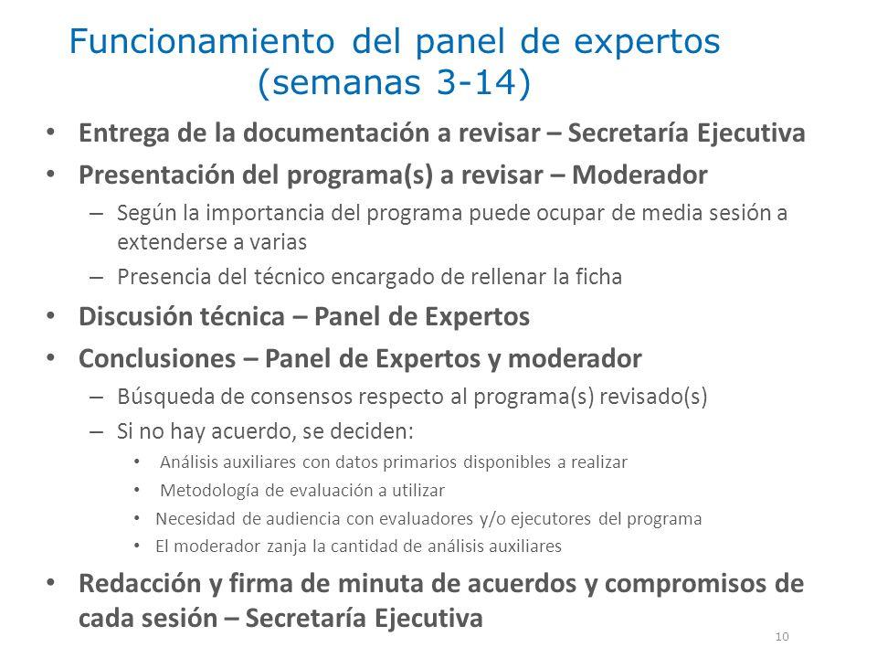 Funcionamiento del panel de expertos (semanas 3-14) 10 Entrega de la documentación a revisar – Secretaría Ejecutiva Presentación del programa(s) a rev