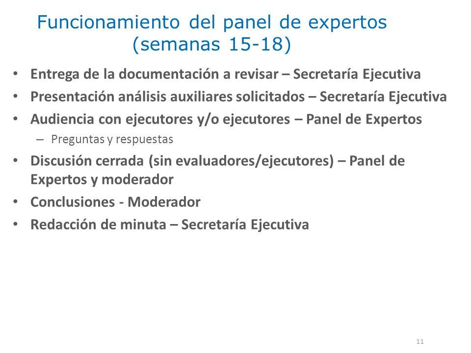 Funcionamiento del panel de expertos (semanas 15-18) 11 Entrega de la documentación a revisar – Secretaría Ejecutiva Presentación análisis auxiliares