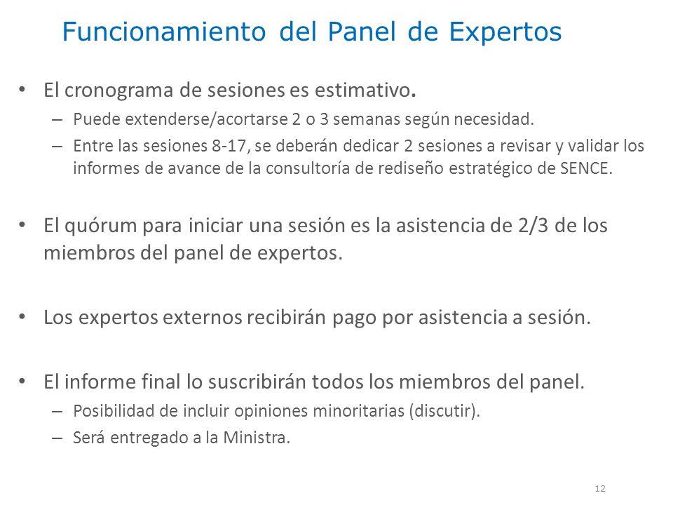 Funcionamiento del Panel de Expertos 12 El cronograma de sesiones es estimativo. – Puede extenderse/acortarse 2 o 3 semanas según necesidad. – Entre l