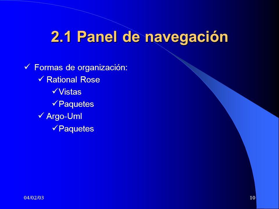 04/02/0310 2.1 Panel de navegación Formas de organización: Rational Rose Vistas Paquetes Argo-Uml Paquetes