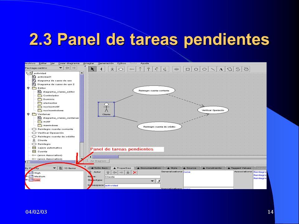 04/02/0314 2.3 Panel de tareas pendientes