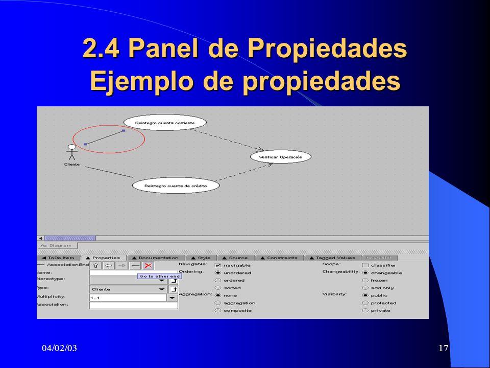 04/02/0317 2.4 Panel de Propiedades Ejemplo de propiedades