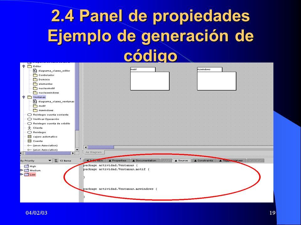 04/02/0319 2.4 Panel de propiedades Ejemplo de generación de código