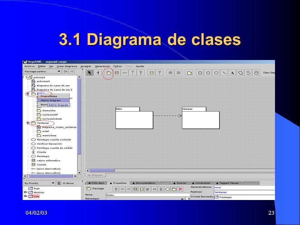 04/02/0323 3.1 Diagrama de clases