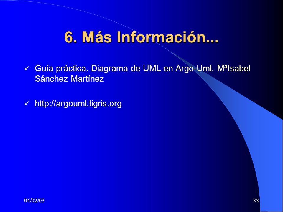 04/02/0333 6. Más Información... Guía práctica. Diagrama de UML en Argo-Uml. MªIsabel Sánchez Martínez http://argouml.tigris.org