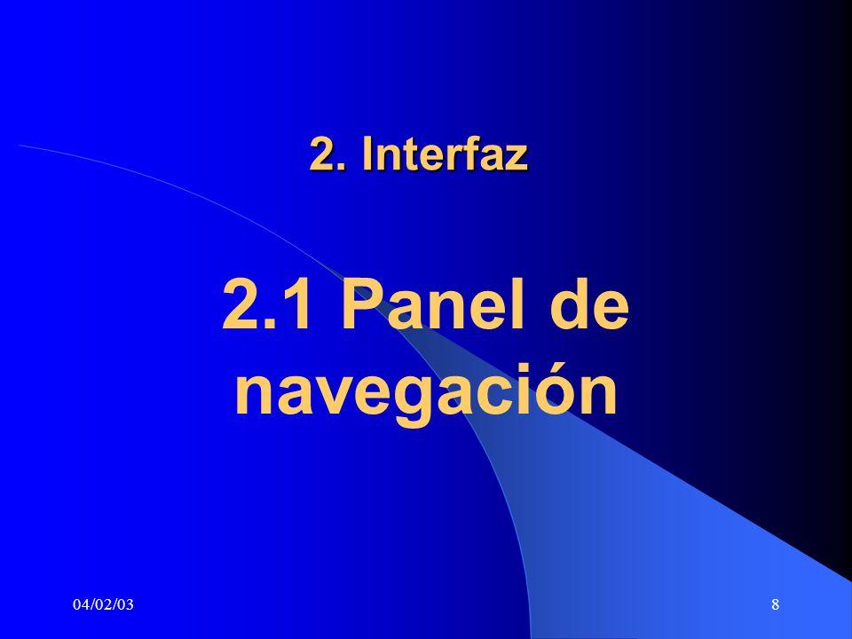 04/02/038 2. Interfaz 2.1 Panel de navegación
