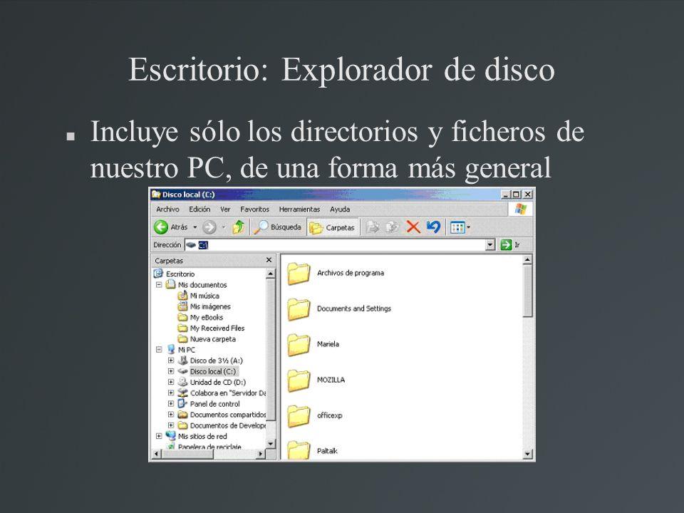Escritorio: Explorador de disco Incluye sólo los directorios y ficheros de nuestro PC, de una forma más general