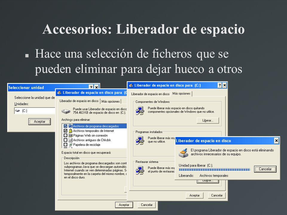 Accesorios: Liberador de espacio Hace una selección de ficheros que se pueden eliminar para dejar hueco a otros