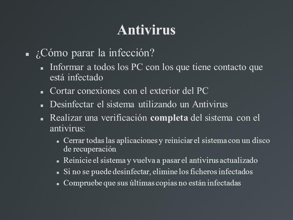 Antivirus ¿Cómo parar la infección? Informar a todos los PC con los que tiene contacto que está infectado Cortar conexiones con el exterior del PC Des