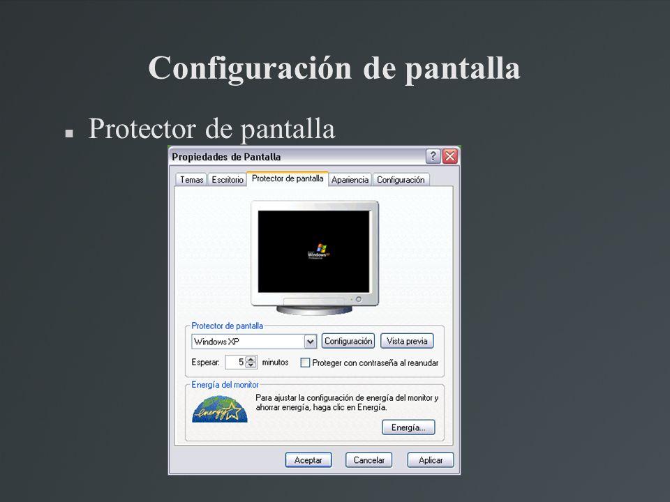 Configuración de pantalla Protector de pantalla