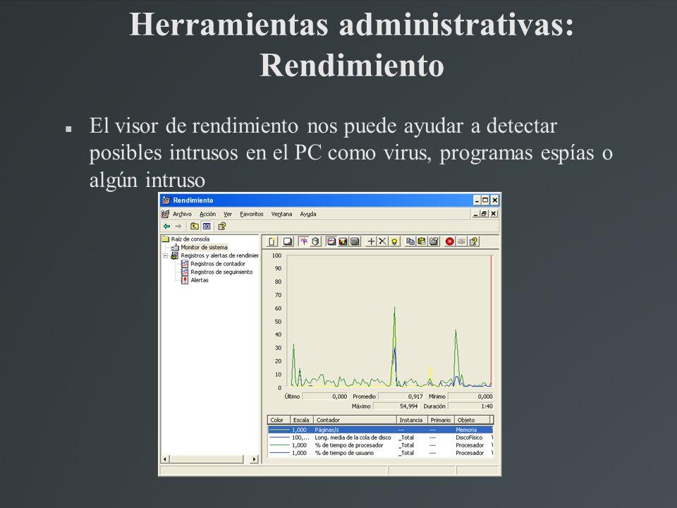 Herramientas administrativas: Rendimiento El visor de rendimiento nos puede ayudar a detectar posibles intrusos en el PC como virus, programas espías