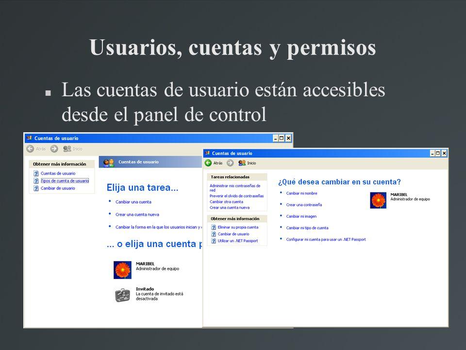 Usuarios, cuentas y permisos Las cuentas de usuario están accesibles desde el panel de control