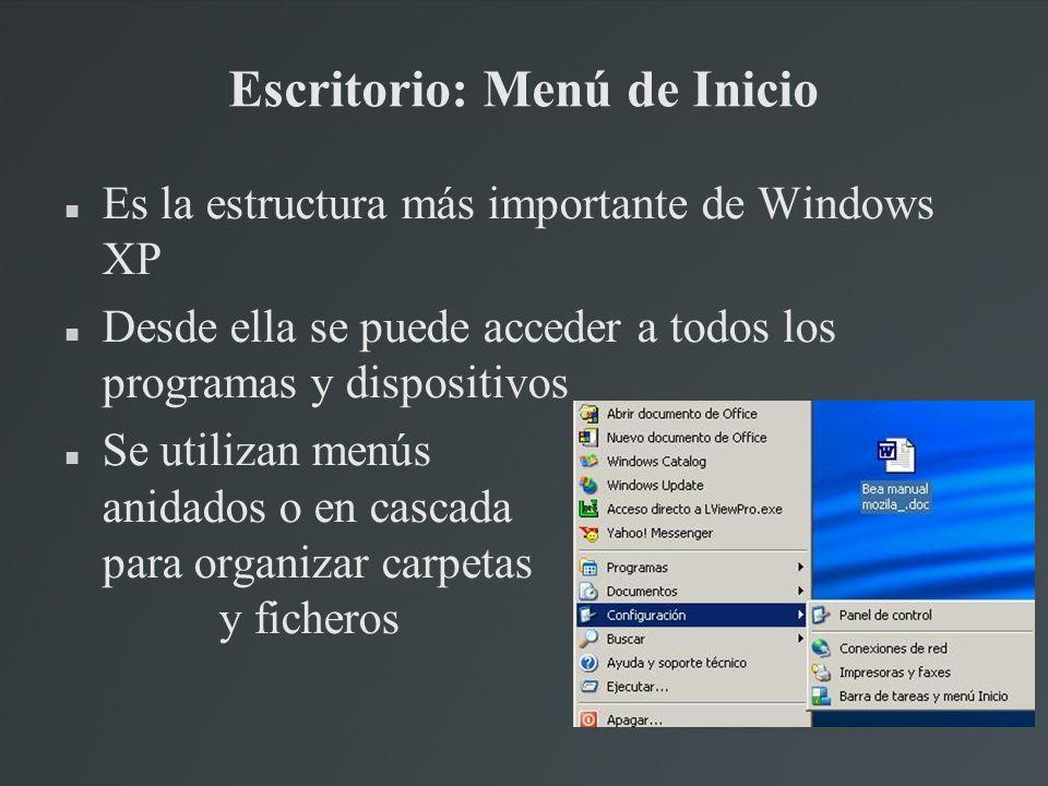 Escritorio: Menú de Inicio Es la estructura más importante de Windows XP Desde ella se puede acceder a todos los programas y dispositivos Se utilizan