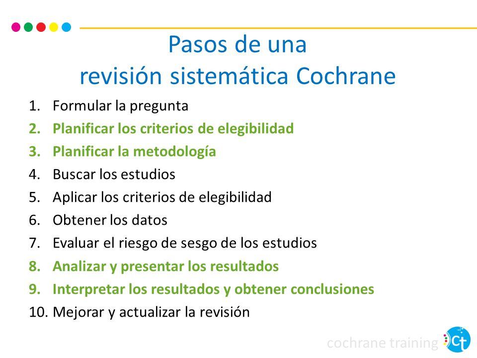 cochrane training Pasos de una revisión sistemática Cochrane 1.Formular la pregunta 2.Planificar los criterios de elegibilidad 3.Planificar la metodol