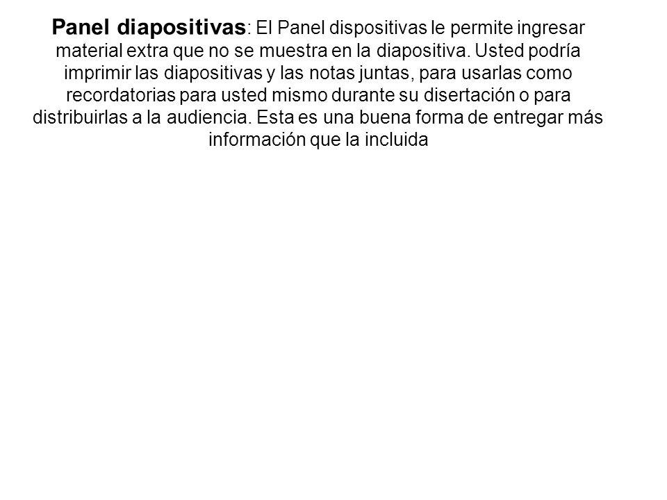 Panel diapositivas : El Panel dispositivas le permite ingresar material extra que no se muestra en la diapositiva. Usted podría imprimir las diapositi